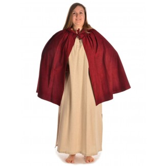 Mittelalter Umhang Virginal in Rot Frontansicht 3