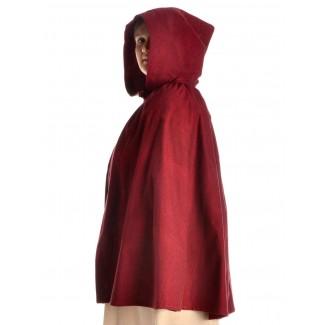 Mittelalter Umhang Virginal in Rot Seitenansicht 2