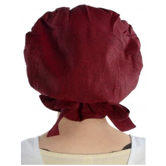 Mittelalter Haube Arnive in Rot Rückansicht