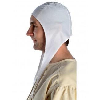 Mittelalter Bundhaube Wenezlan in Weiß Seitenansicht