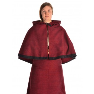 Mittelalter Pelerine Yrkane in Rot Frontansicht 2