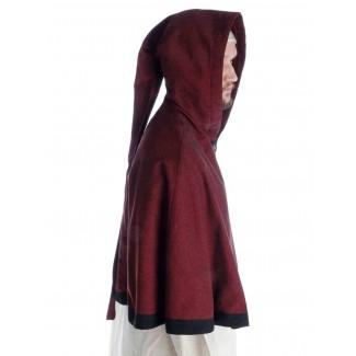 Mittelalter Pelerine Laurin in Rot Seitenansicht