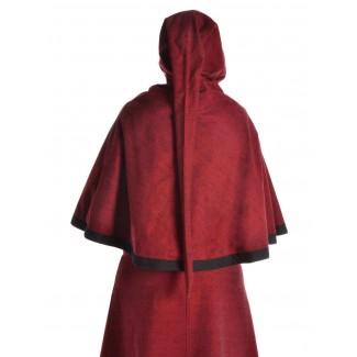 Mittelalter Pelerine Yrkane in Rot Rückansicht