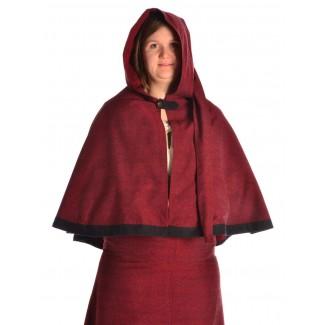 Mittelalter Pelerine Yrkane in Rot Frontansicht