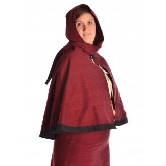 Mittelalter Pelerine Yrkane in Rot Seitenansicht