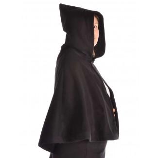 Mittelalter Pelerine Gerutha in Schwarz Seitenansicht