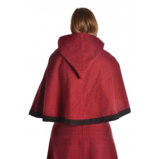Mittelalter Pelerine Gerutha in Rot Rückansicht