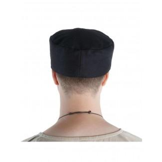 Mittelalter Kappe Machorel in Schwarz Rückansicht