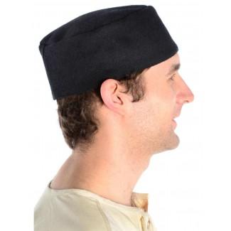 Mittelalter Kappe Machorel in Schwarz Seitenansicht