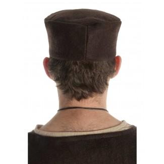 Mittelalter Kappe Machorel in Braun Rückansicht