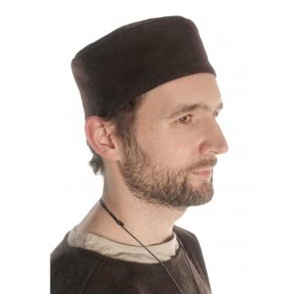 Mittelalter Kappe Machorel in Braun Seitenansicht