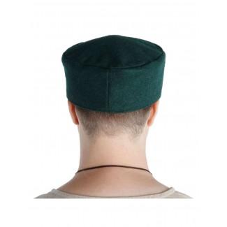 Mittelalter Kappe Machorel in Grün Rückansicht