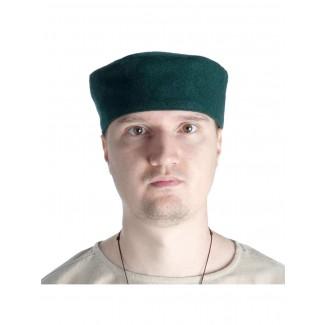 Mittelalter Kappe Machorel in Grün Frontansicht