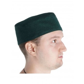 Mittelalter Kappe Machorel in Grün Seitenansicht