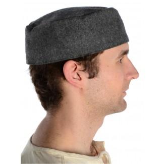 Mittelalter Kappe Machorel in Grau Seitenansicht