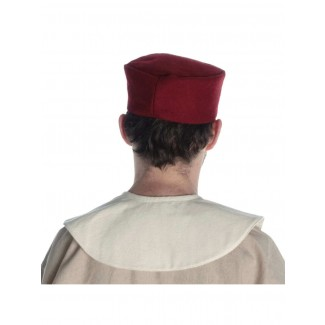 Mittelalter Kappe Machorel in Rot Rückansicht