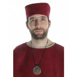 Mittelalter Kappe Machorel in Rot Frontansicht
