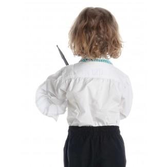 Mittelalter Rüschen-Kinderhemd Isenhart in Weiß Rückansicht