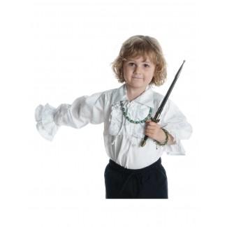 Mittelalter Rüschen-Kinderhemd Isenhart in Weiß Frontansicht