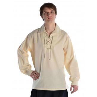 Mittelalter Schnürhemd Askalon in Beige Frontansicht