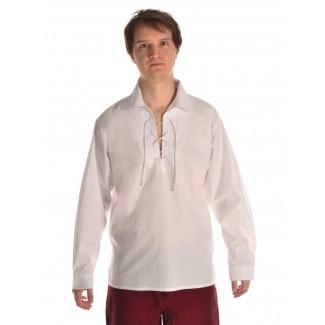 Mittelalter Schnürhemd Askalon in Weiß Frontansicht 3