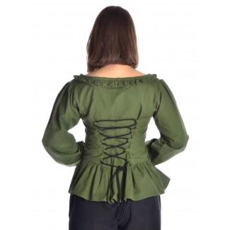 Mittelalter Bluse Hilde in Grün Rückansicht