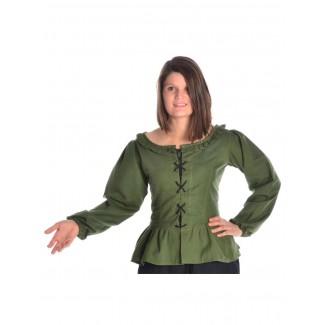 Mittelalter Bluse Hilde in Grün Frontansicht
