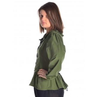 Mittelalter Bluse Hilde in Grün Seitenansicht