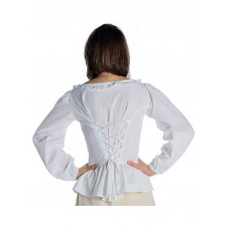 Mittelalter Bluse Hilde in Weiß Rückansicht