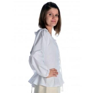 Mittelalter Bluse Hilde in Weiß Seitenansicht