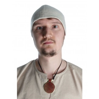 Wikinger Kappe Fafnir in Beige Frontansicht