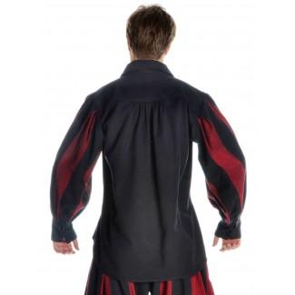 Landsknecht Schnürhemd Titurel in Schwarz-Rot Rückansicht