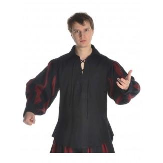 Landsknecht Schnürhemd Titurel in Schwarz-Rot Frontansicht