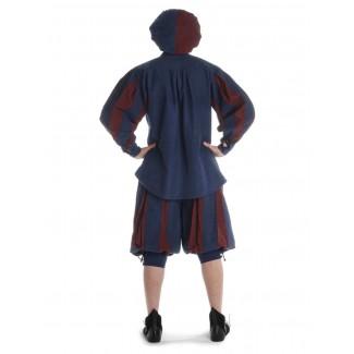Landsknecht Schnürhemd Titurel in Blau-Rot Rückansicht