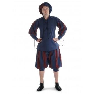 Landsknecht Schnürhemd Titurel in Blau-Rot Frontansicht