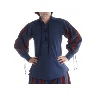 Landsknecht Schnürhemd Titurel in Blau-Rot Frontansicht 2
