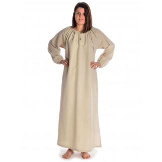 Wikinger Kleid Verandi in Hanffarben Frontansicht