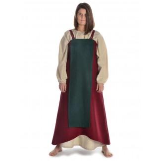 Mittelalter Surkot Skuld Wollfilz in Rot-Grün Frontansicht