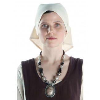 Mittelalter Kopftuch Laudamie in Beige Frontansicht