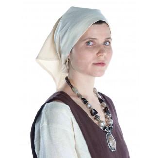 Mittelalter Kopftuch Laudamie in Beige Seitenansicht
