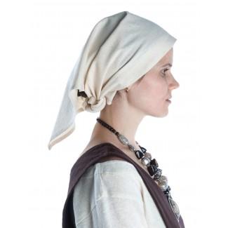 Mittelalter Kopftuch Laudamie in Beige Seitenansicht 2