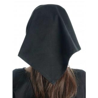 Mittelalter Kopftuch Laudamie in Schwarz Rückansicht