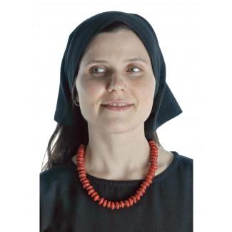 Mittelalter Kopftuch Laudamie in Schwarz Frontansicht