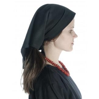 Mittelalter Kopftuch Laudamie in Schwarz Seitenansicht