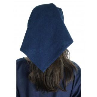 Mittelalter Kopftuch Laudamie in Blau Rückansicht
