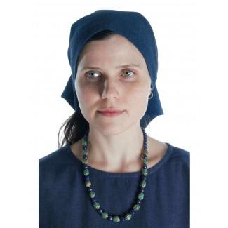 Mittelalter Kopftuch Laudamie in Blau Frontansicht