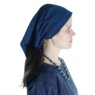 Mittelalter Kopftuch Laudamie in Blau Seitenansicht