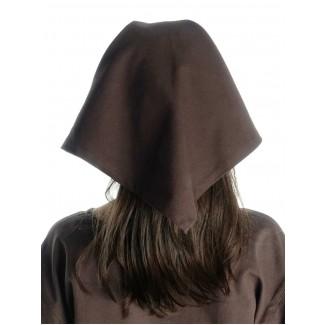 Mittelalter Kopftuch Laudamie in Braun Rückansicht