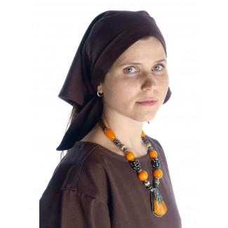 Mittelalter Kopftuch Laudamie in Braun Frontansicht