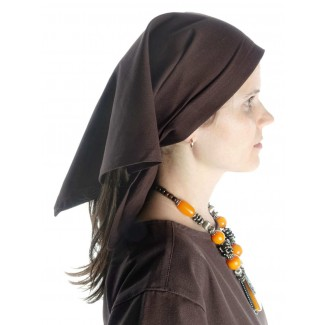 Mittelalter Kopftuch Laudamie in Braun Seitenansicht